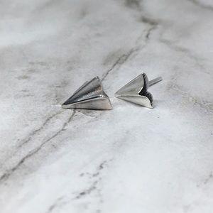 Jewelry - Minimalist Paper Airplane Silver Earrings
